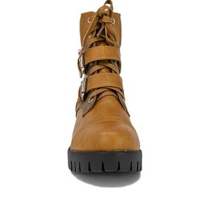 Chase + Chloe Shoes - Women's Cognac Leather Ankle Combat Boots